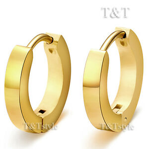 T-amp-T-14K-Gold-GP-Stainless-Steel-Narrow-Hoop-Earrings-Large-16mm-EH01J-3x12