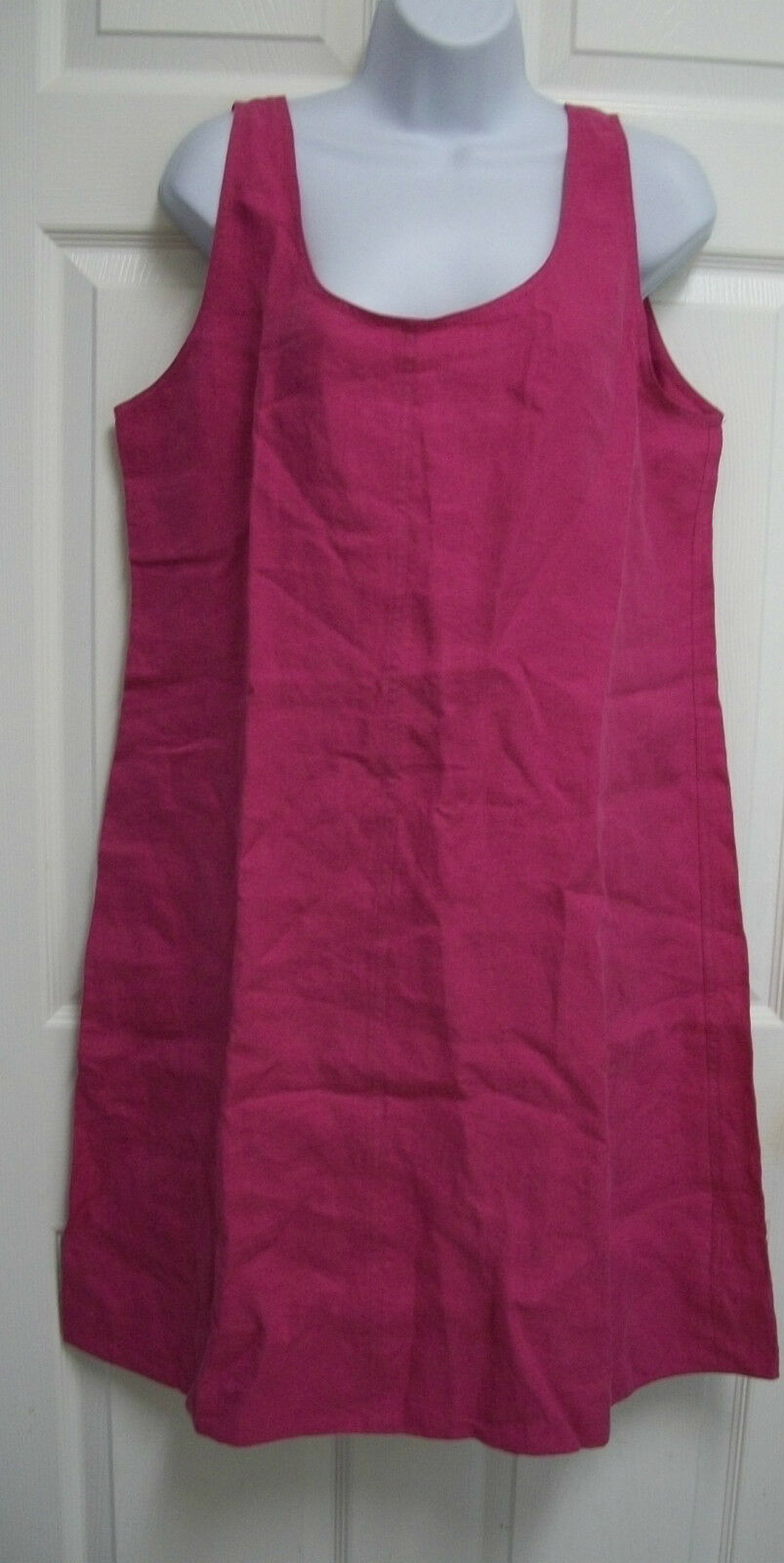 NEW EILEEN FISHER PURPLE PINK WASHED LINEN TWILL LOOSE SLEEVELESS SHIFT DRESS L