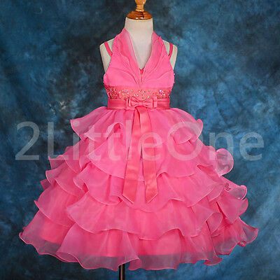 Tiered Organza Pageant Halter Dresses Wedding Flower Girl Party Size 2T-8 #131A