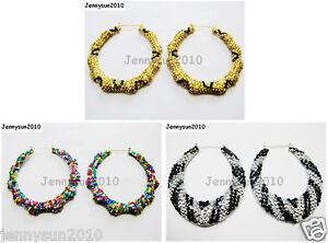 1Pair-Rhinestones-Encrusted-Bamboo-Hoop-Earrings-3-inches-75mm-Pick-Colors