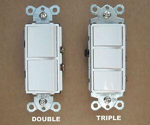 DECORA-ROCKER-WALL-DOUBLE-TRIPLE-COMBINATION-STACK-SWITCH-WHITE
