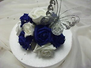 wedding cake royal blue flower wedding flower cake topper royal blue and ivory with 23723