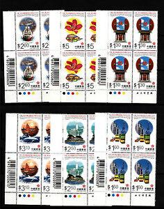 China Hong Kong, 1997 Hong Kong return to China, Complete 6V , blk of 4 Mint