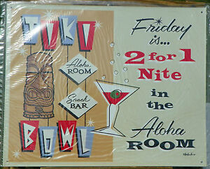 TIKI-BOWL-ALOHA-ROOM-SNACK-BAR-METAL-TIN-SIGN-BAR-POOL-CAMP-SAM-GAMBINO