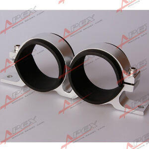 52mm-ID-Dual-Doppel-Billet-Fuel-Pump-Filter-Montagehalterung-Clamp-Cradle-Silber