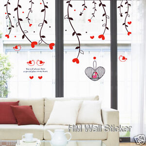 WEEPING-WILLOW-LOVE-HEARTS-CUTE-BIRDS-BIRDS-CAGE-Wall-Sticker-for-your-home