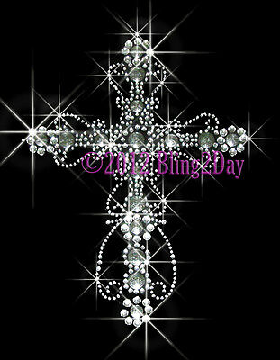 Elegant Cross Rhinestone Iron on Transfers Hot Fix Bling Applique for T-Shirts