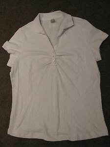BNWT-LADIES-WHITE-COLLARED-SPORTS-TSHIRT-TOP-SIZE-14-ACTIVE-WEAR-GYM