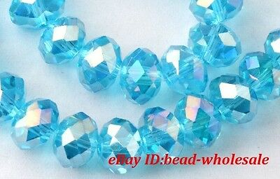 80/50PCS Rondelle Rhinestone Crystal Loose Beads Spacer 6MM/8MM