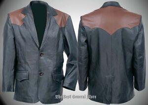 Mens-Black-Brown-Western-Style-Solid-Cowhide-Leather-Sport-Jacket-Coat-Blazer