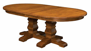 Large Amish Oval Double Pedestal Dining Room Table Solid Wood ...
