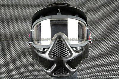 Airsoft Paintball Goggle Clear Len BK Full Face Mask 30