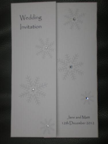 10 Handmade Personalised Gatefold Wedding Invitations - snowflake winter wedding
