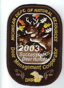 2003 michigan dnr successful deer hunter patch hunting for Michigan fishing license prices