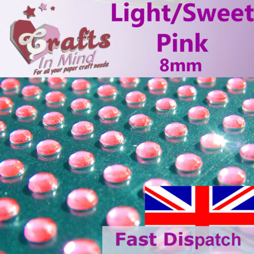 56 x 8mm Light/Sweet Pink Quality Rhinestone Diamante Gems Diamonte 4 Cards