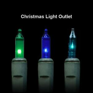 100-034-Caribbean-034-Green-Blue-amp-Teal-Mini-Xmas-String-Lights-26ft-Wire-Incandescent