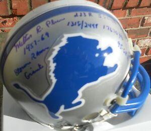 Milt Plum  AUTOGRAPHED Detroit Lions STAT Mini Helmet 10 STATS COA