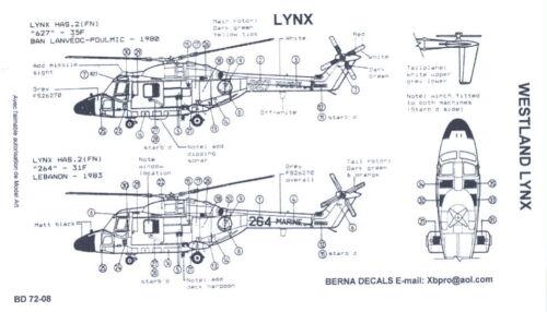Berna Decals 1//72 WESTLAND LYNX British Attack Helicopter