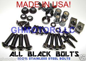 97-98-99-00-GSX-R-600-750-Black-COMPLETE-FAIRING-BOLTS-Fastener-Screws-KIT