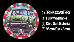 4-x-MORRIS-MINI-COOPER-BMC-MOTOR-CAR-DRINK-COASTERS-Fully-Washable