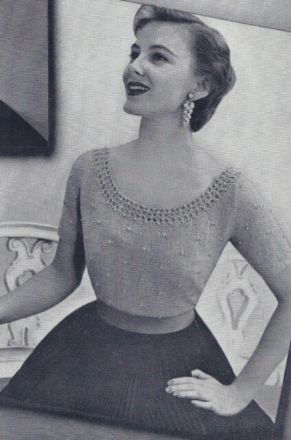 Vintage Knitting PATTERN Knitted Scoop Neck Beaded Blouse Top Sweater 1950s