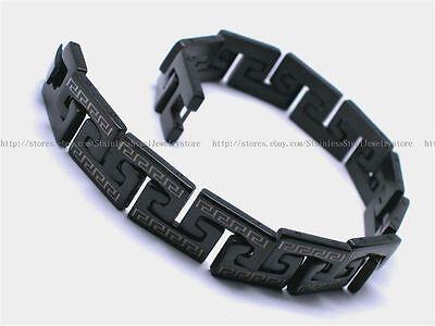 Mens Stainless Steel Bracelet Bangles Black Link Mens Black Bracelet Gift SS021