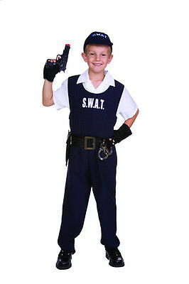 S.W.A.T SWAT CHILD BOY COSTUMES POLICE OFFICER POLICEMAN COP KIDS OUTFIT 90346