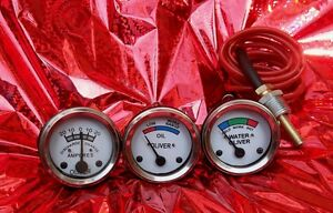 White-Face-Early-Oliver-Tractor-Temperature-Oil-Pressure-Ammeter-Gauge-Set