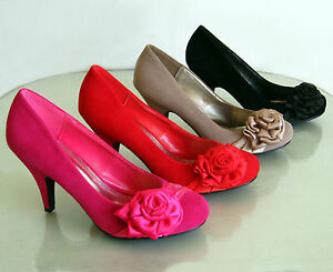 New-Classic-Round-Toe-Heel-Pumps-Satin-Flower-Suede-Black-Red-Fuchsia-Khaki-6-10