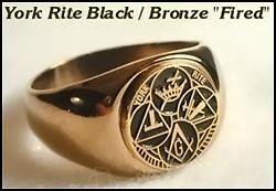 MASON MASONIC YORK RITE ROUND BLACK LOGO STAINLESS STEEL GOLD RING