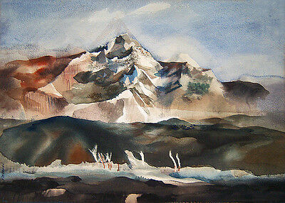 """DONG KINGMAN Signed 1946 Original Double-Sided Watercolor  - """"South Mountain"""""""