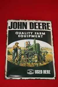 Blechschild-John-Deere-used-here-Bauer-40x30-cm-gepraegte-Qualitaet-Schild-Sign
