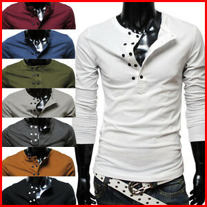 DK13-THELEES-Mens-Casual-Slim-fit-Stylish-Long-Sleeve-Button-Point-Tshirts