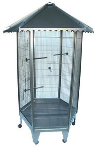 Brand-New-6-Sided-Large-Steel-Parrot-Aviary-Budgie-Bird-Cage-Wheel