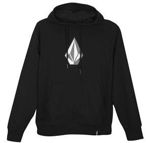 Volcom-Mens-Original-Stone-Logo-Pullover-Hoodie-Sweatshirt-jumper-Black-M-L-NEW