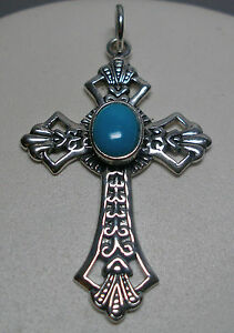 Brand-New-Antiqued-Finish-Sterling-Silver-Turquoise-Cross-Pendant