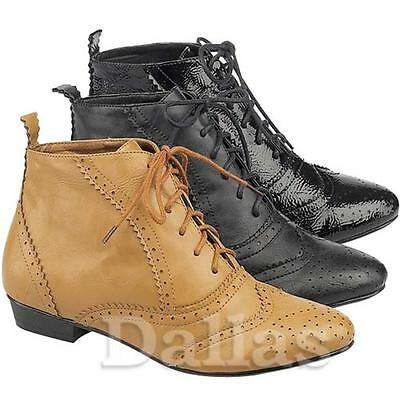 LADIES ANKLE BOOTS NEW WOMENS SMART OFFICE BLOCK HEELS BROGUE FORMAL SHOES SIZE