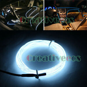 5m cold white diy 12v car charge interior led el wire rope tupe light line drive ebay. Black Bedroom Furniture Sets. Home Design Ideas