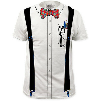 NEW Nerd Bowtie Glasses Pencil Retro Geek Look Costume Outfit Sizes T-shirt top