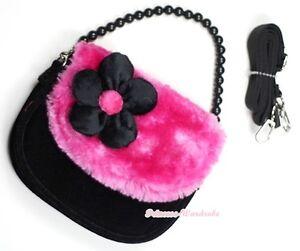 Black-Hot-Pink-Bead-Chain-Girl-Handbag-Kid-Shoulder-Bag-Purse-Children-Flap-Bag