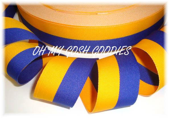 1.5 ROYAL BLUE YELLOW GOLD BI STRIPE CHEER GROSGRAIN RIBBON 4 HAIRBOW BOW  5YD