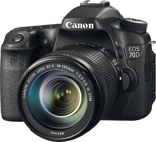 New Canon EOS 70D 20.2 MP DSLR Camera - Black (Kit w/ EF-S IS STM 18-135mm)