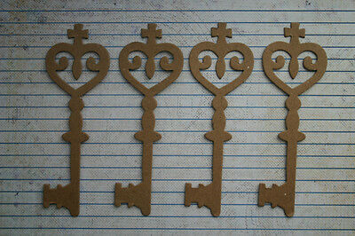 "4 Bare chipboard Large Ornate Keys diecuts Key 1 5/8"" wide x 4 7/8"" tall"