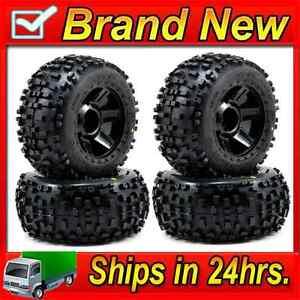 Pro-Line-1178-11-3-8-034-Mounted-Badlands-Tires-w-Desperado-Wheels-4-Savage-Revo