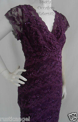 New Purple Lace Beaded Vneck Dress Cocktail 2X Evening Special Formal Bridesmaid