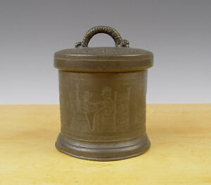 Antique-Superb-Dutch-Groats-Box-Pewter-Engraved-18th-C-Marked-Man-Woman