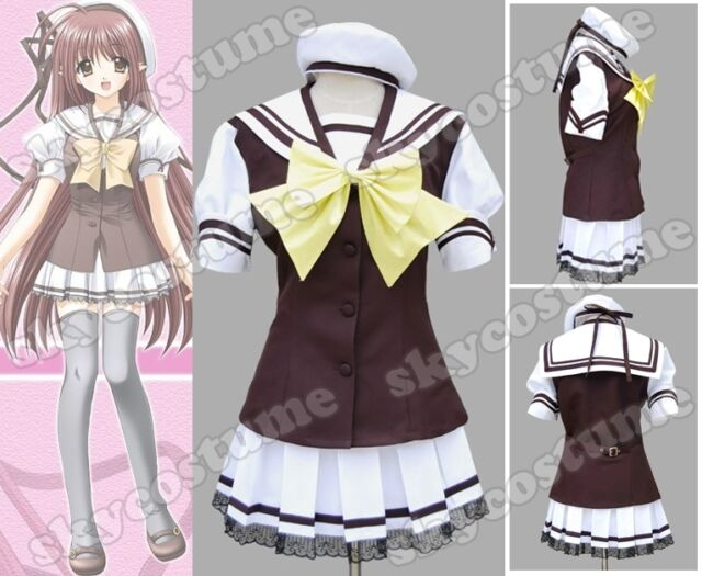 Shuffle Cosplay Costume Japanese School Gilr Uniform