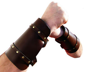 Steampunk-Leather-Cuffs-Cuff-Vambrace-Gaunlet-HQ-Leather-Reenactment-Arm-Guard