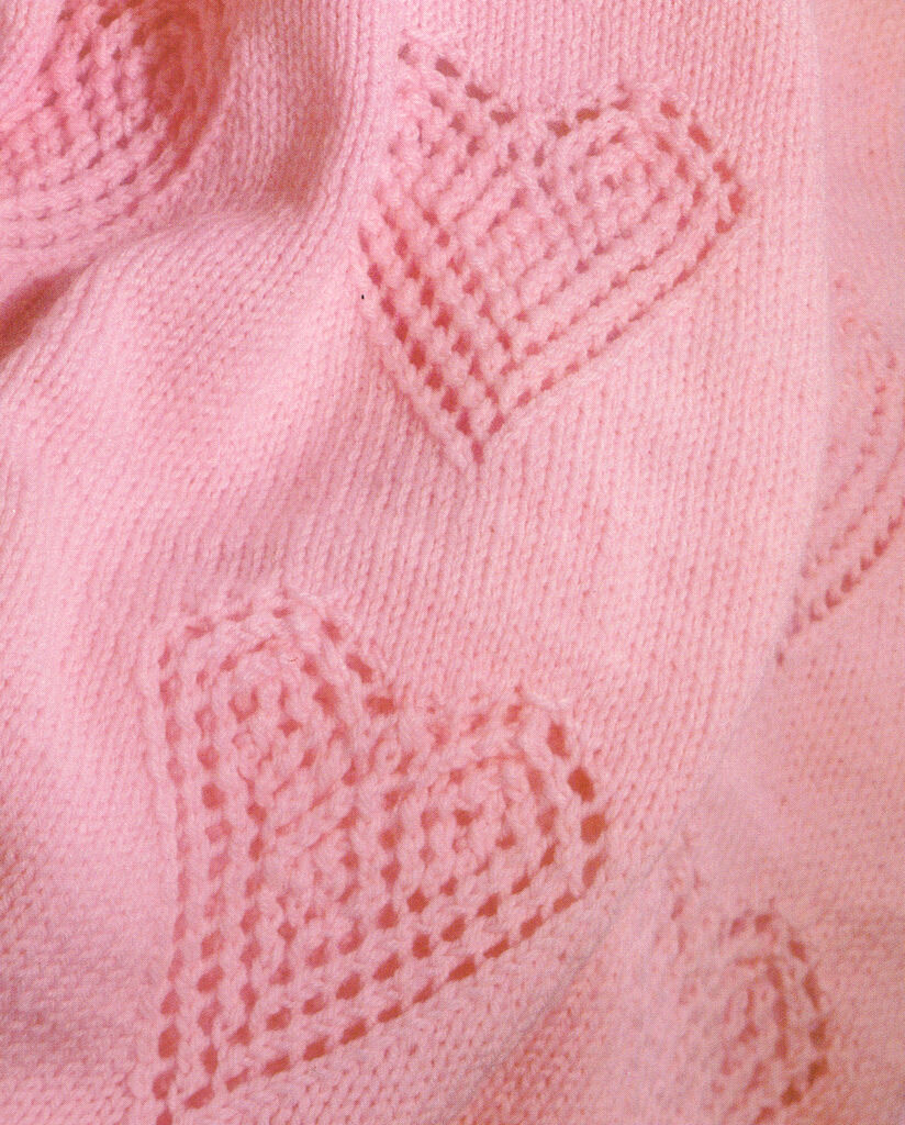 Lacy Love Hearts Aran Baby Blanket Knitting Pattern 32