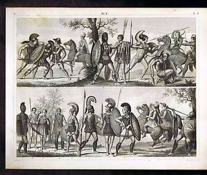 Grecian-Warriors-Etruscan-Soldiers-Archer-Trumpeter-1851-Heck-Winkles-Print
